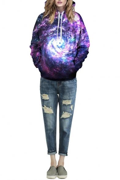 Purple Swirl Galaxy Print Hooded Pullover Sweatshirt