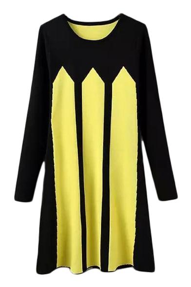 Round Neck Vertical Stripes Color Block Knit Midi Dress