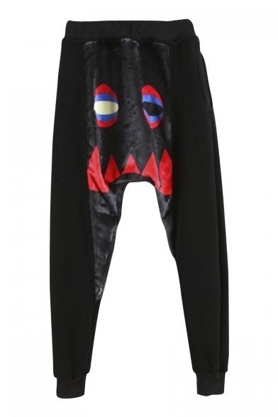 Velvet Patchwork Horror Face Print Drop Crotch Pants