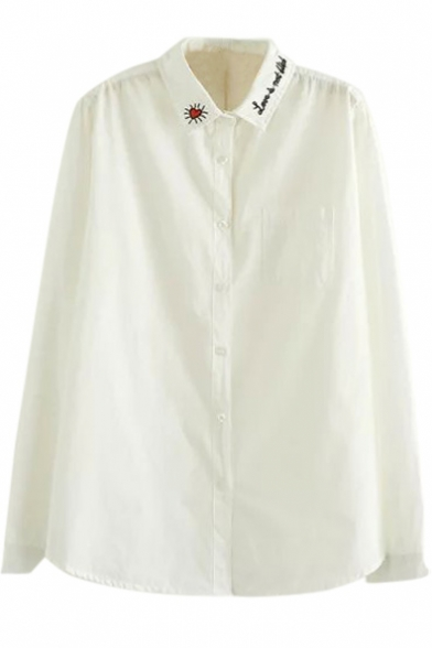12e50dd6 Heart Embroidery Long Sleeve White Button Down Shirt - Beautifulhalo.com