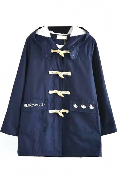 Horn Button Down Letter & Cartoon Embroidery Plain Coat