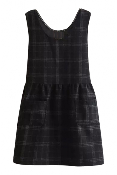 Lace Scoop Neck Sleeveless Plaid Pockets Detail Tweed Dress