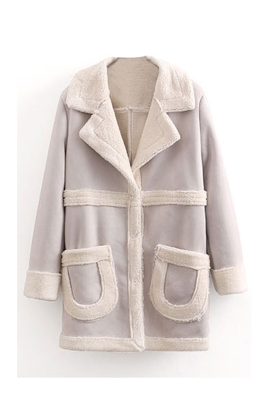 Lamb Wool Lining Double Pockets Color Block Suede Coat