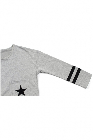 Long Star Trims Round Sleeve Stripe Tee Neck Print vttqwaTB