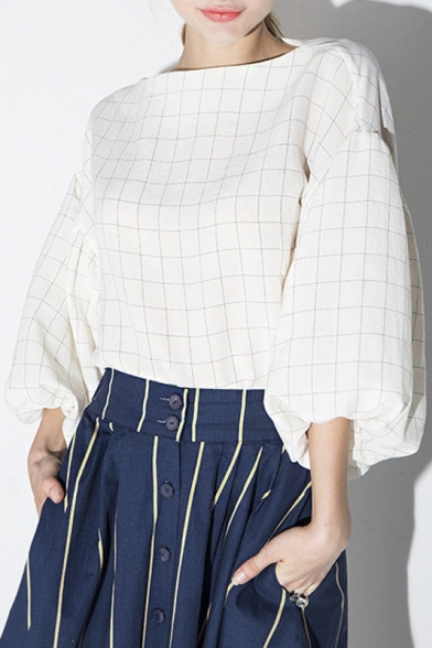 White Boat Neck Balloon Sleeve Plaid Loose Blouse