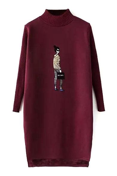 High Neck Cartoon Print Dip Hem Split Side Knit Dress