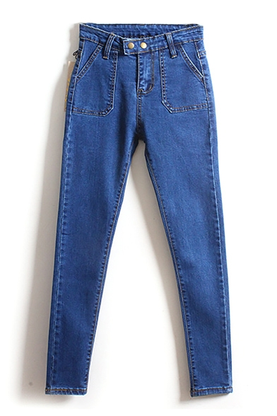 High Waist Pockets Double Buttons Plain Skinny Jeans