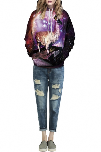 Hooded Galaxy & Deer Print Loose Pullover Brown Sweatshirt