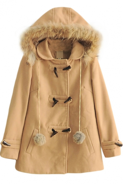 Horn Button Fur Hooded Plain Fur Ball Detail Tweed Coat