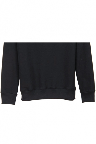 Print Letter Long Black Pullover Sweatshirt Sleeve zdwP0F1q