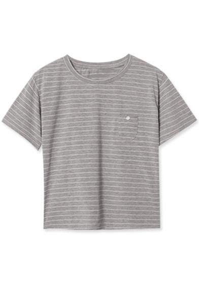 Pocket Detail Round Neck Short Sleeve Stripes Tee