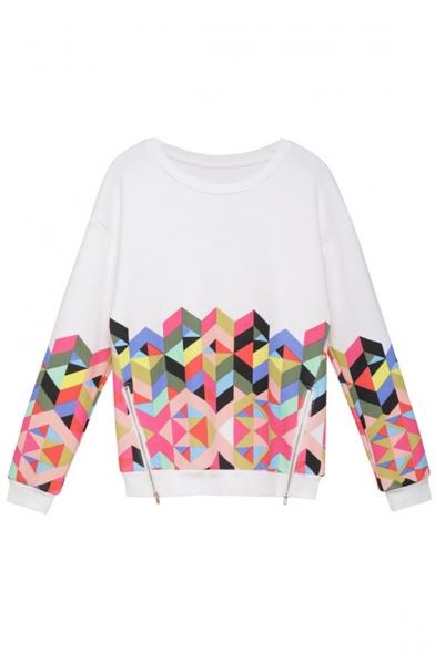 White Zipper Detail Colorful Geometric Print Sweatshirt