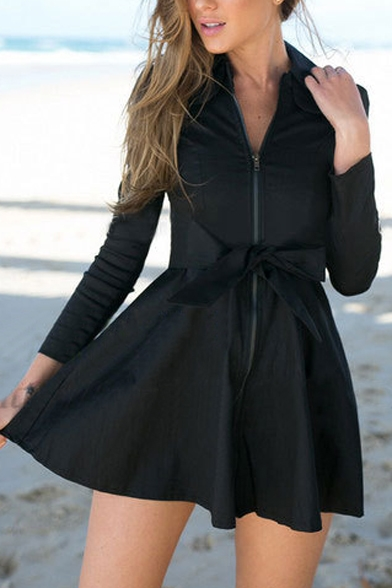 Zipper Front Lapel Tie Waist Plain A Line Long Sleeve Mini
