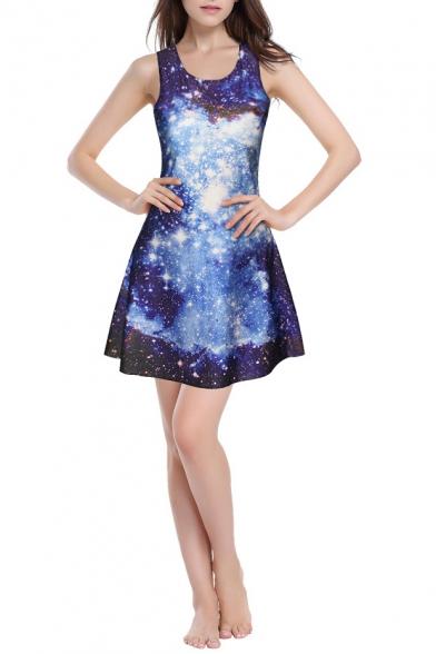 3D Blue Galaxy Print Round Neck Fit & Flare Dress