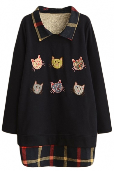 Cat Patchwork Lapel Plaid Detail False Two-Piece Sweatshirt