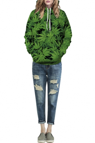 Green Cannabis Leaf Print Hooded Long Sleeve Sweatshirt