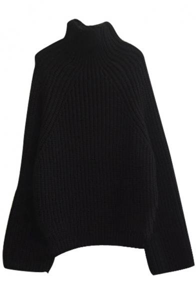 High Neck Raglan Long Sleeve Plain Thicken Sweater