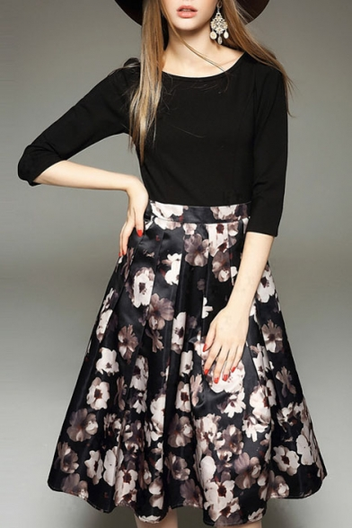 Round Neck Half Sleeve Patchwork Floral Print Midi Dress