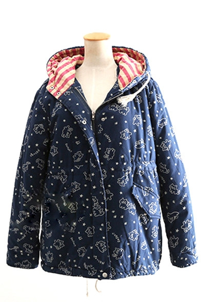 Zipper Hooded Cute Cartoon Print Wool Lining Padded Coat