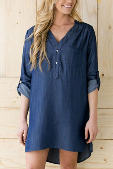 Button Detail V-Neck Long Sleeve Plain High Low Dress