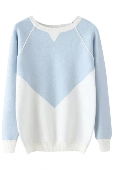 Color Block Raglan Long Sleeve Round Neck Pullover Sweater