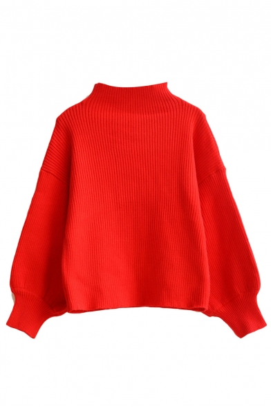 High Neck Balloon Sleeve Batwing Red Cropped Sweater ...