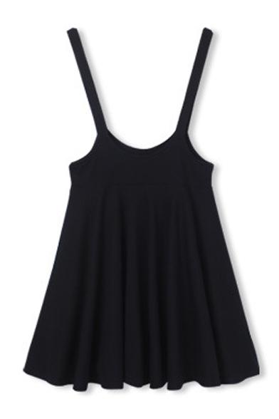 Plain A-Line Skater High Waist Overall Mini Skirt - Beautifulhalo.com