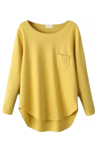 Plain Long Sleeve Single Pocket Dip Hem Round Neck Sweater