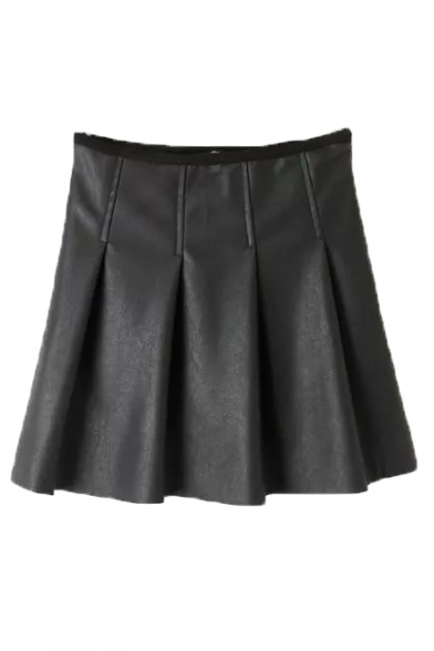 Plain Zip Side Velvet Plus Pleated PU A-Line Skirt