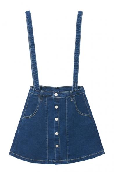 A-Line Button Down Plain Double Pockets Denim Overall Skirt