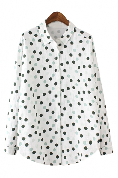 Sleeve Polka Lapel Shirt Long Down Button Dot White BxOqOU