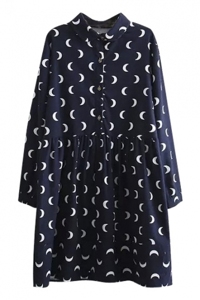 Lapel Moon Print Long Sleeve Collar Midi Navy Shirt Dress