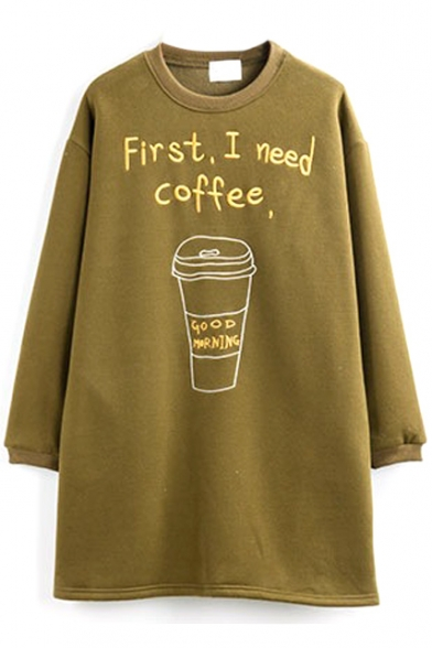 Letter & Coffee Embroidery Long Sleeve Loose Tunic Sweatshirt