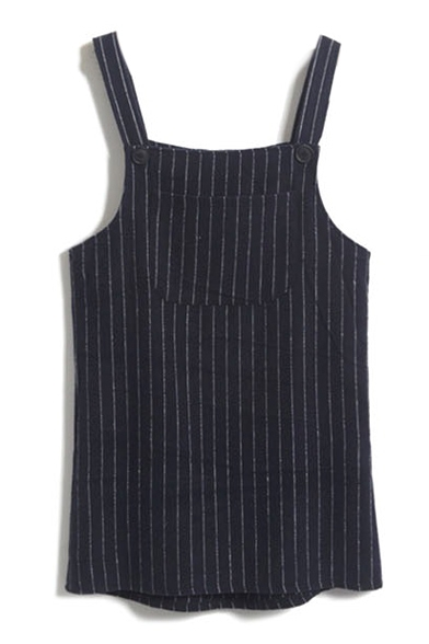 Single Pocket Vertical Stripes Loose Mini Tweed Overall Dress