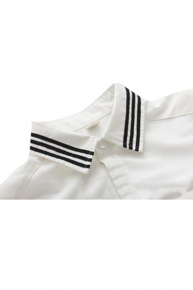 Anchors Embroidery Stripe Trims Single Pocket White Shirt