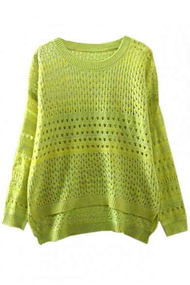 Dip Hem Hollow Out Plain Long Sleeve Sweater