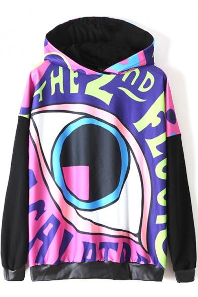 Hooded Cartoon Eye Print Color Block PU Patchwork Sweatshirt