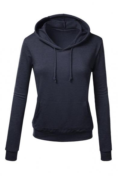 Hooded Plain Long Sleeve Pullover Slim Single Pocket Sweatshirt