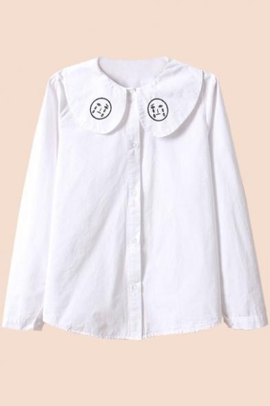 Lapel Face Embroidery Button Down White Cotton Shirt