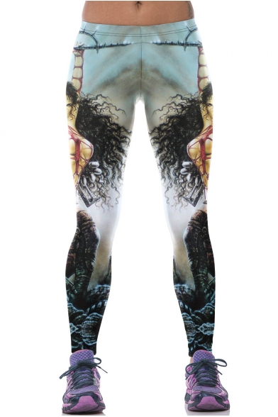 Light Blue Long Hair Woman Print Elastic Waist Leggings