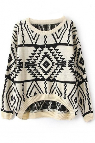 Round Neck Geometric Jacquard Dip Hem Sweater