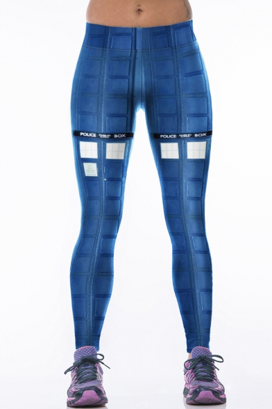 Blue Plaid Police Box Print Stretch Yoga Leggings