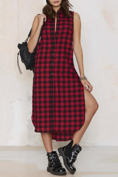 Button down red plaid sleeveless lapel maxi shirt dress for Pink checkered dress shirt