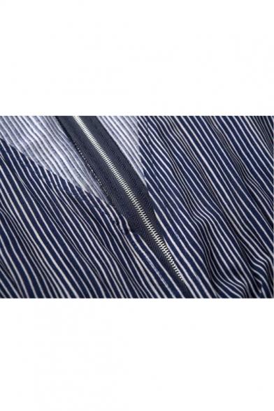 ea980ec00686 Deep V-Neck Stripes Floral Print Long Sleeve Romper - Beautifulhalo.com
