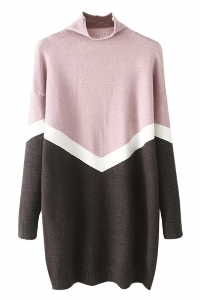 High Neck Chevron Detail Color Block Longline Sweater