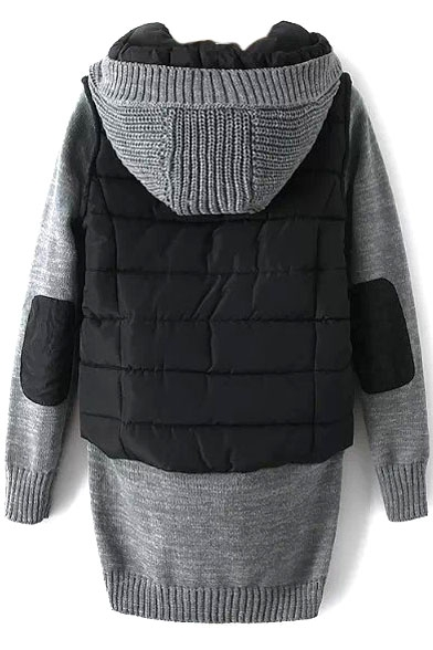 Hooded Knit Patchwork Zipper Long False Two-Piece Padded Coat