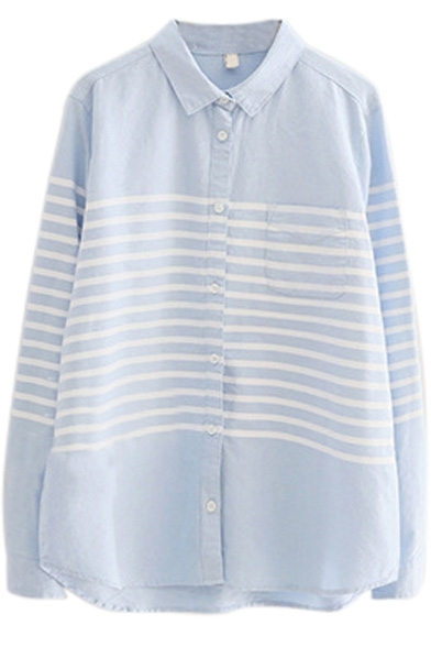 Lapel Stripes Button Down Long Sleeve Curved Hem Shirt