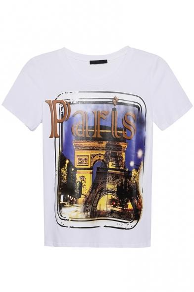 Sleeve Round Tee Print Neck City Paris Short wpaEqXWgY