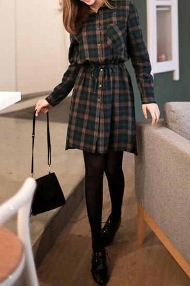 Plaid Drawstring Waist Button Down Midi Shirt Dress