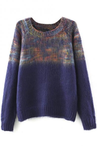 Round Neck Raglan Sleeve Ombre Color Block Sweater